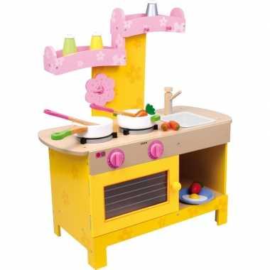 Houten speelgoedkeuken roze