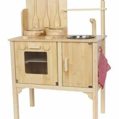 Speelgoed houten keuken inclusief metalen spoelbak